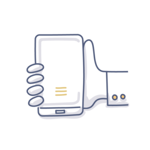 Illustration of a mobile phone held in a hand